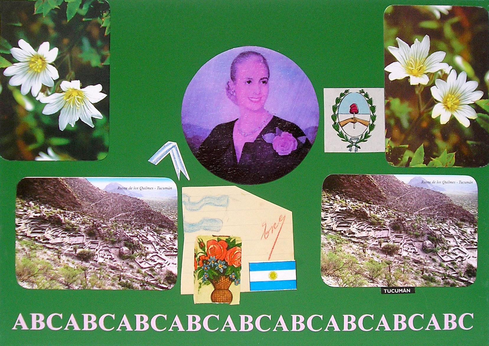 Evita Maestra recorre el país, Tucumán; serie, técnica mixta sobre pizarrón; 21 x 30 cm, 2007