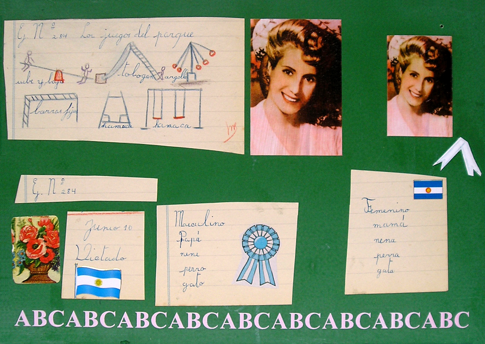 Evita Maestra recorre el país, El Barrio; serie, técnica mixta sobre pizarrón; 21 x 30 cm, 2007