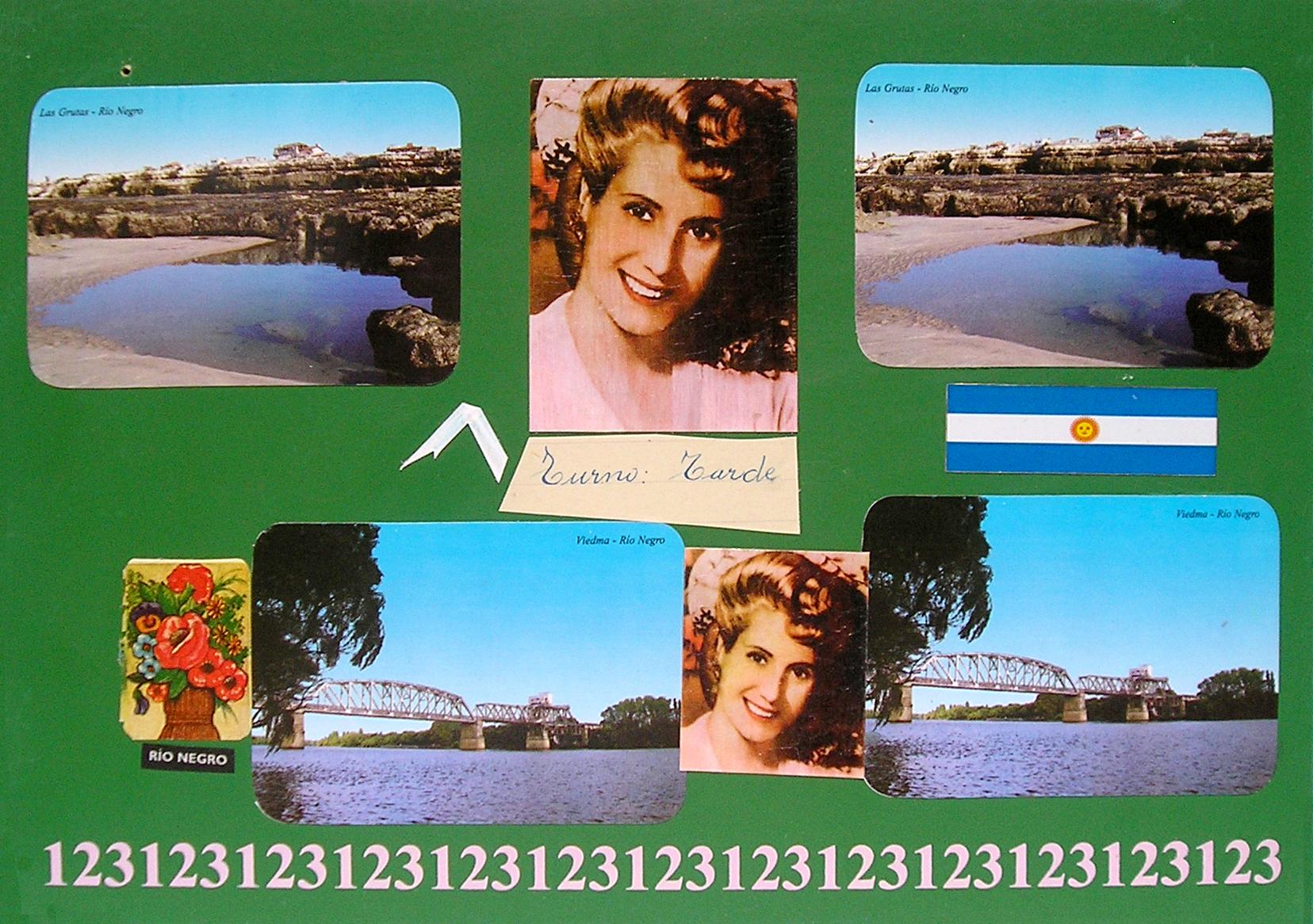 Evita Maestra recorre el país, Viedma, Río Negro; serie, técnica mixta sobre pizarrón; 21 x 30 cm, 2007