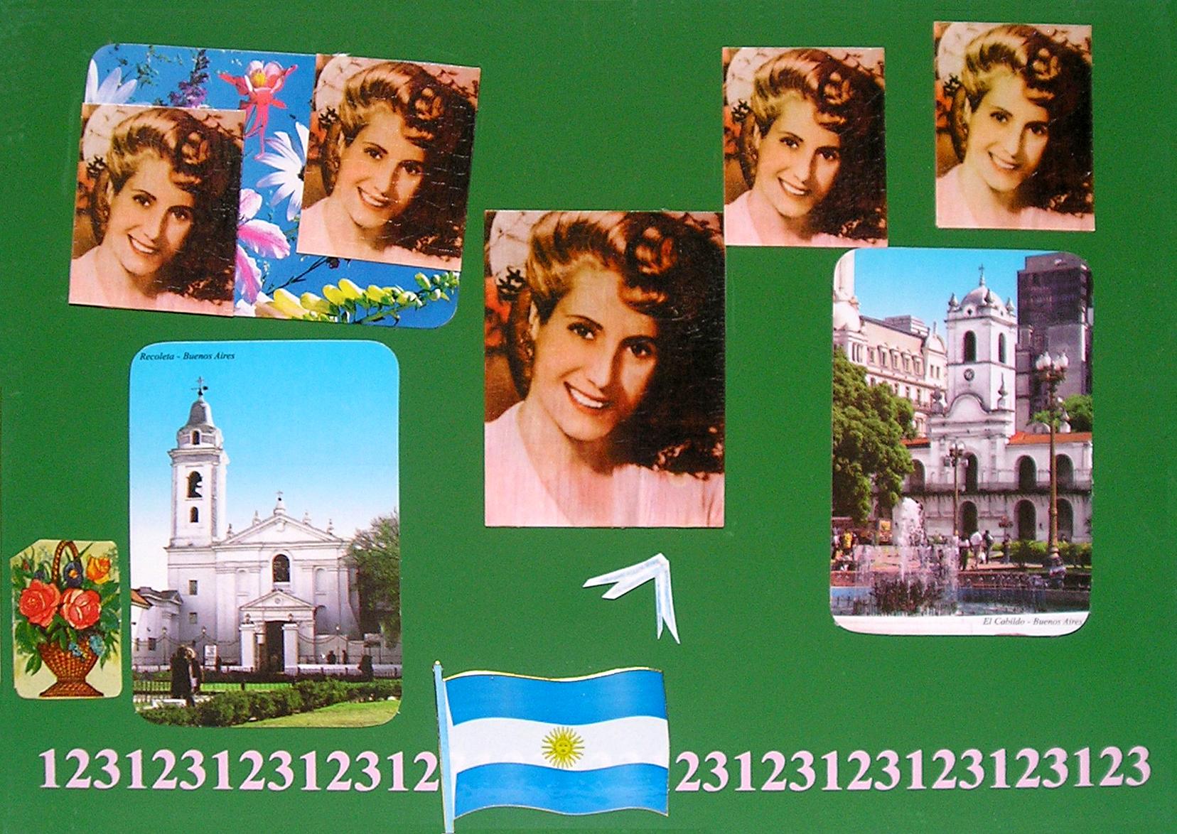 Evita Maestra recorre el país, Buenos Aires; serie, técnica mixta sobre pizarrón; 21 x 30 cm, 2007