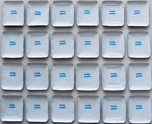 24 Provincias argentinas compuestas por veintitres provincias y Ciudad de Buenos Aires, papel collage sobre bandejas de cartón, 108 x 90 x 10cm, 2011.