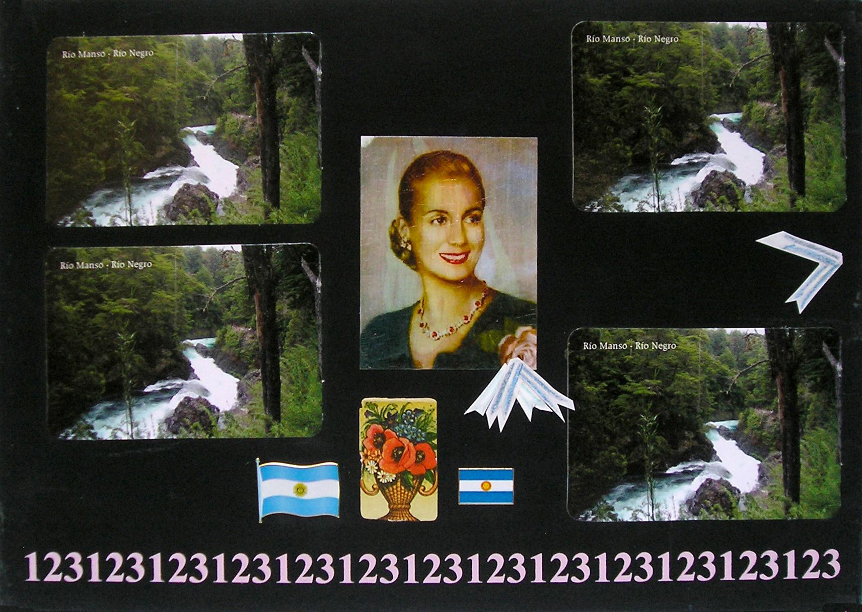 Evita Maestra recorre el país, Río Manso, Río Negro ; serie, técnica mixta sobre pizarrón; 21 x 30 cm, 2007