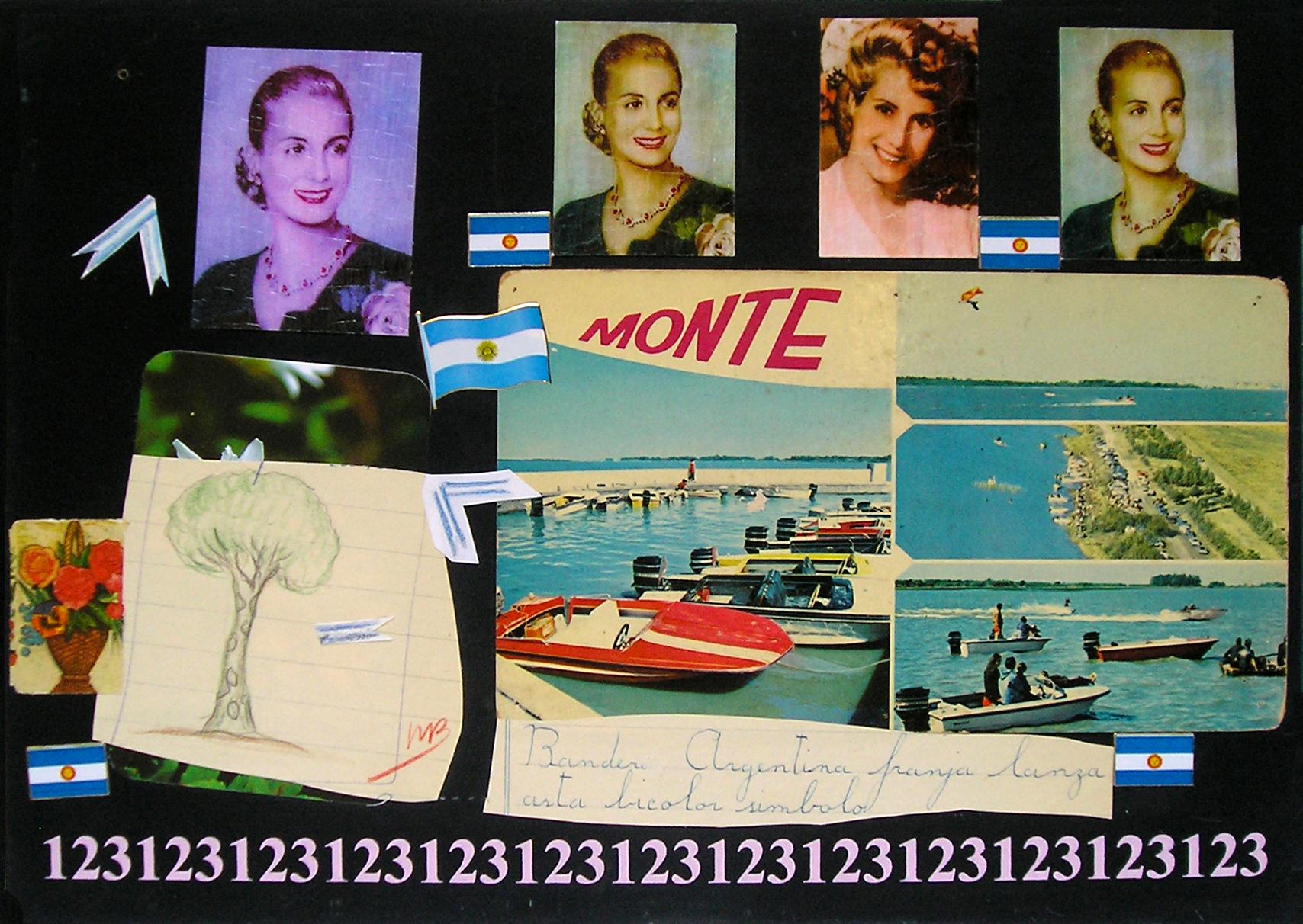 Evita Maestra recorre el país, Monte, Buenos AIres ; serie, técnica mixta sobre pizarrón; 21 x 30 cm, 2007