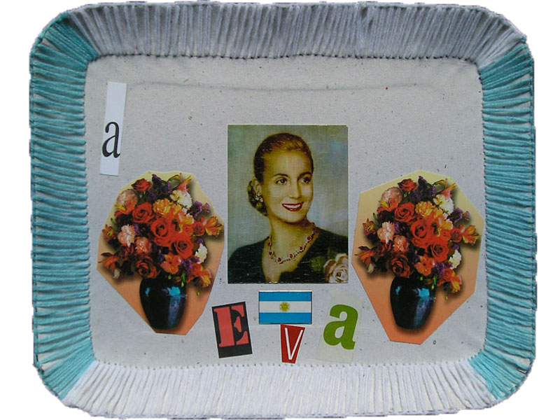 A Eva, papel collage y bordado sobre bandeja de cartón, 23 x 28.5 cm, 2007