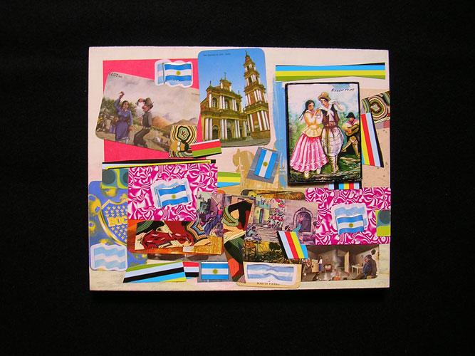 Baile, acrílico y papel collage sobre tela,18 x 24 cm, 2006.