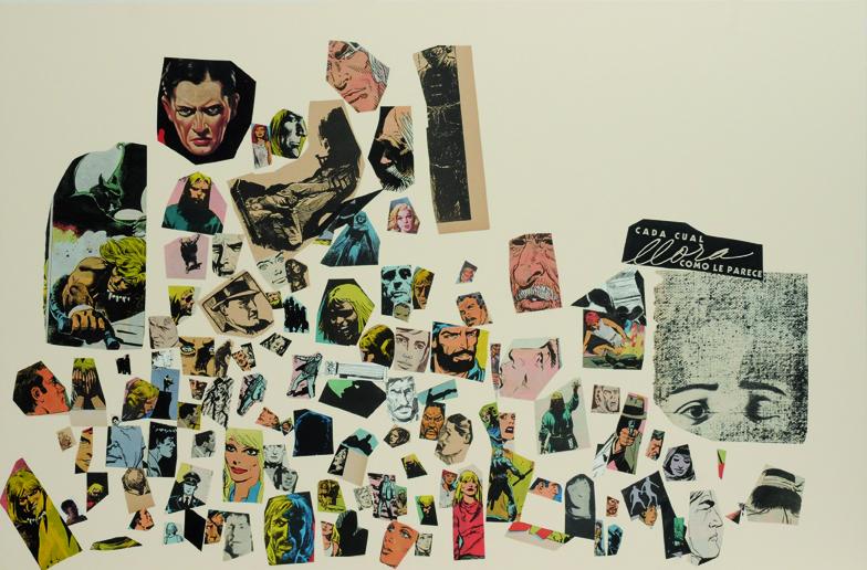 Cada cual llora como le parece, papel collage, 51 x 76 cm. 2008