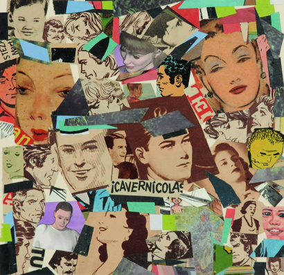 La vida siempre sonríe, serie, Cavernicolas, papel collage, 13,5 x 13,5 cm. 2008