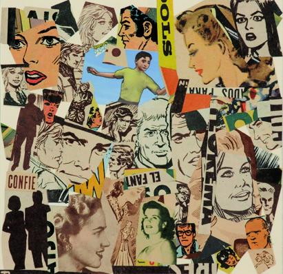 La vida siempre sonríe, serie, Confíe, papel collage, 13,5 x 13,5 cm. 2008