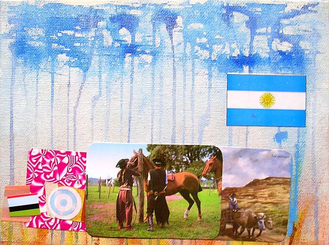 Paisaje de campo I, acrílico y papel collage sobre tela,18 x 24 cm, 2006.