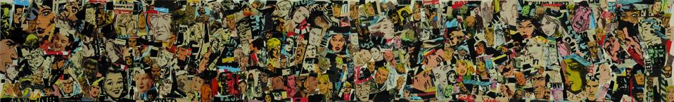 La vida siempre sonríe, serie, Empleo, papel collage, 13,5 x 88 cm. 2008