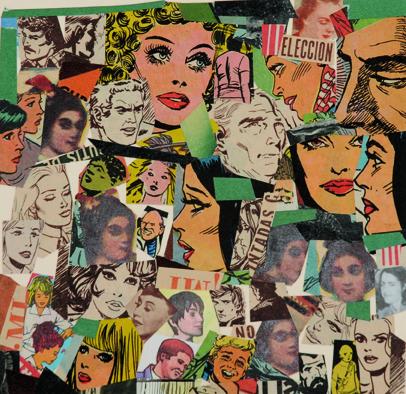 La vida siempre sonríe, serie, Elección, papel collage, 13,5 x 13,5 cm. 2008