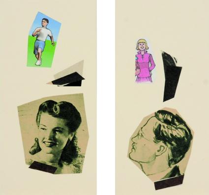 La vida siempre sonríe, serie, Ella y el, papel collage, 13,5 x 13,5 cm. 2008 (13)