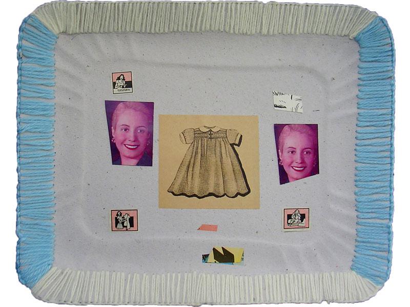 En todas partes, serie, papel collage y bordado sobre bandeja de cartón, 22.5 x 28.5 cm, 2008