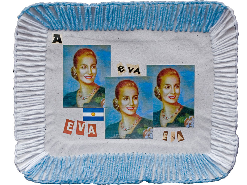 Eva, papel collage y bordado sobre bandeja de cartón, 2010