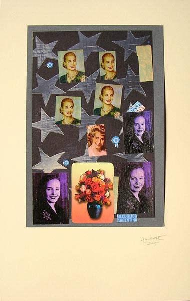 Evita evocación II, papel collage, 33 x 22 cm, 2007.