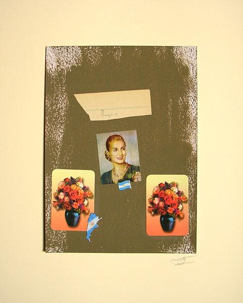 Evita con Flores I, acrílico y papel collage, 33 x 24 cm, 2007.