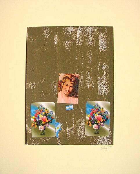 Evita con flores II, acrílico y papel collage, 33 x 24 cm, 2007.
