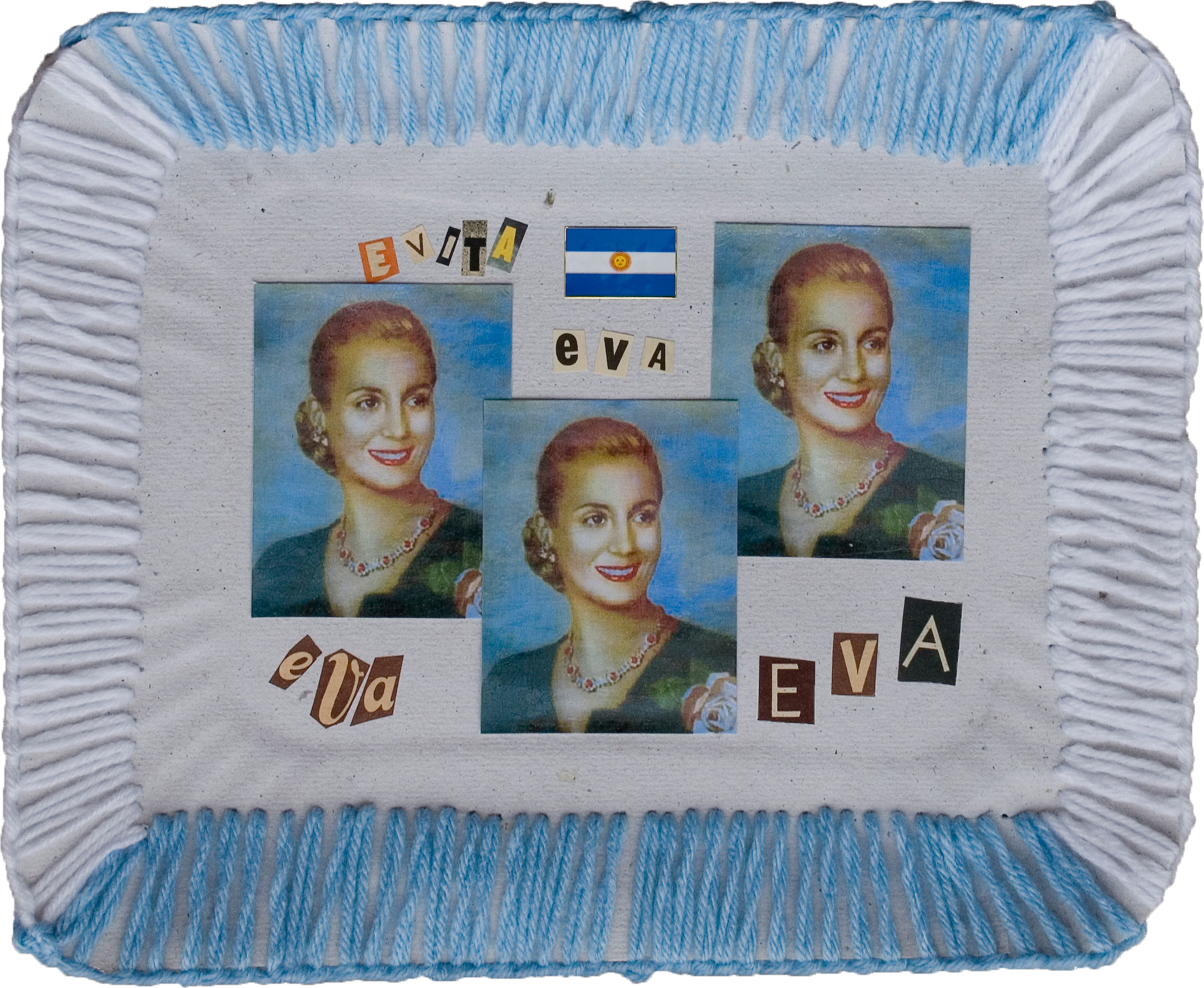 Evita-Eva,  papel collage y bordado sobre bandeja de cartón, 2010
