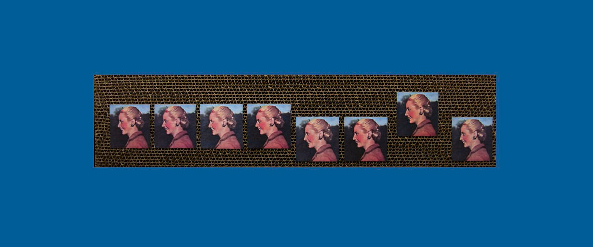 Evita en perspectiva I, papel collage sobre cartón corrugado,11 x 46,5 x 4,3 cm, 2009