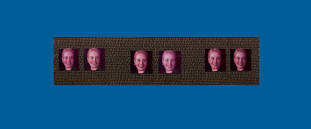 Evita en perspectiva III, papel collage sobre cartón corrugado,11 x 46,5 x 4,3cm, 2009