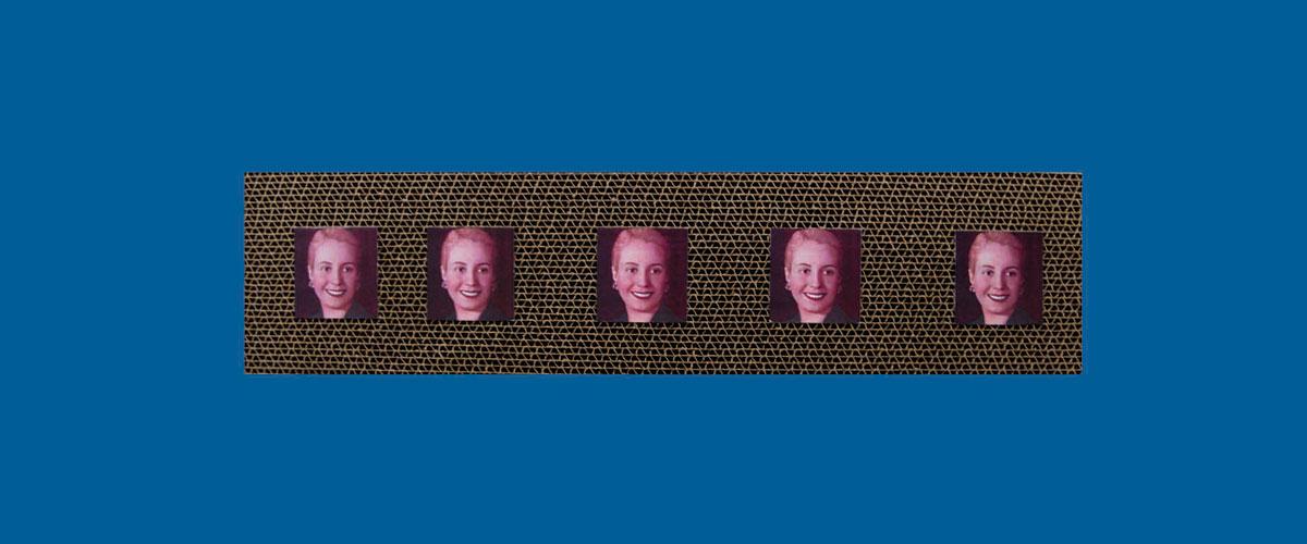 Evita en perspectiva VI, papel collage sobre cartón corrugado,11 x 46,5 x 4,3 cm, 2009