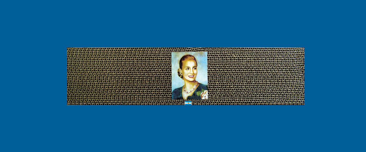 Evita en perspectiva VII, papel collage sobre cartón corrugado,11 x 46,5 x 4,3 cm, 2009