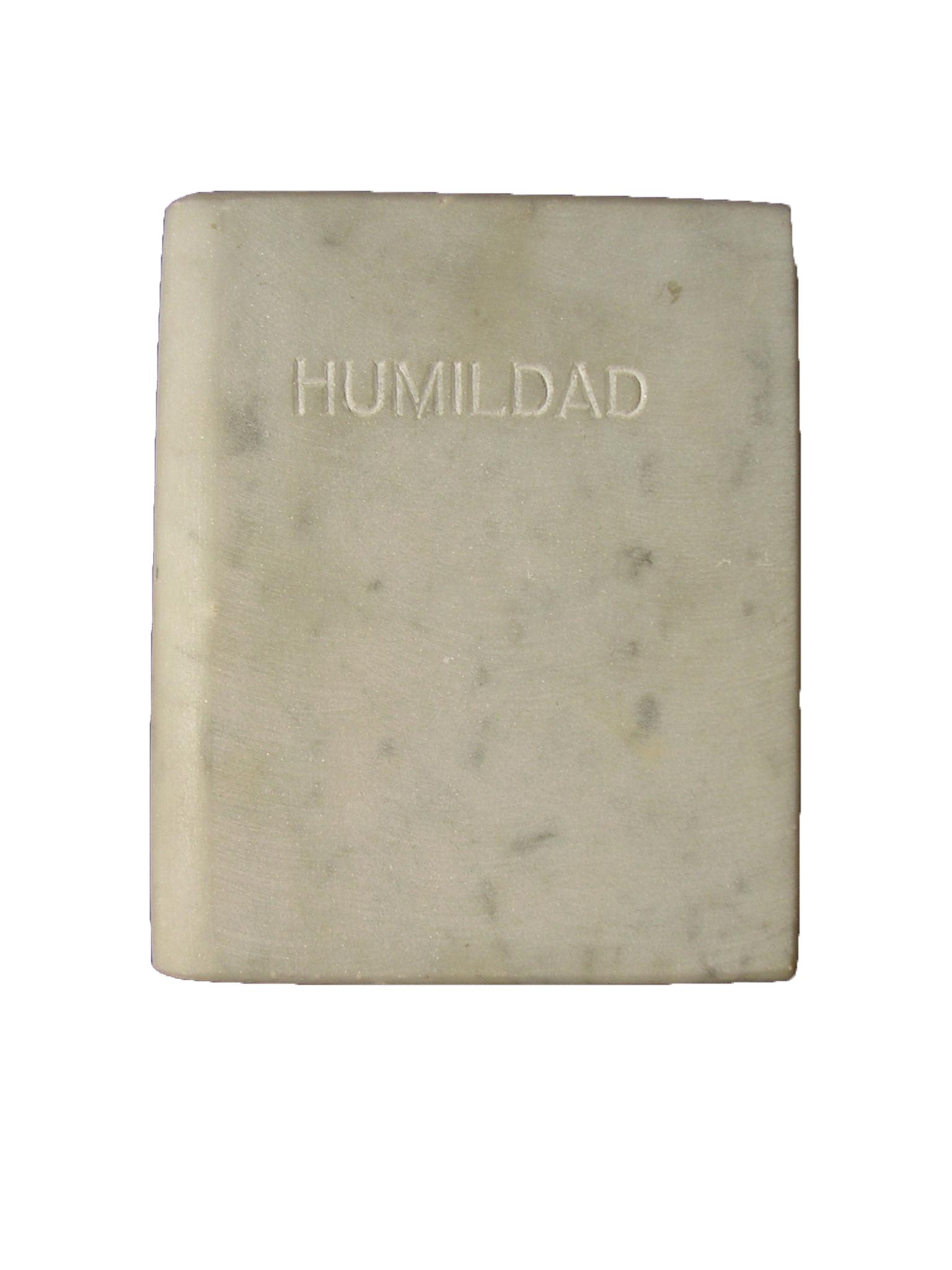 Humildad Las siete virtudes libro de mármol de carrar blanco 18x3x15 cm 1984
