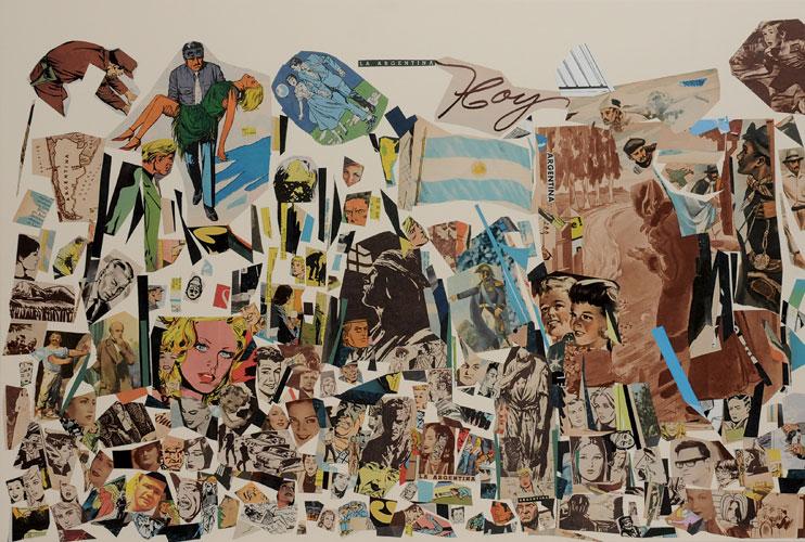La Argentina hoy, papel collage sobre papel, 51 x 76 cm, 2008.