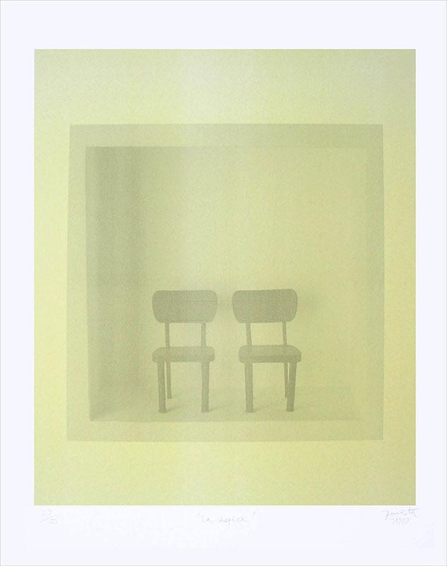 La espera, serigrafía a dos colores 48x40 cm, 1999.