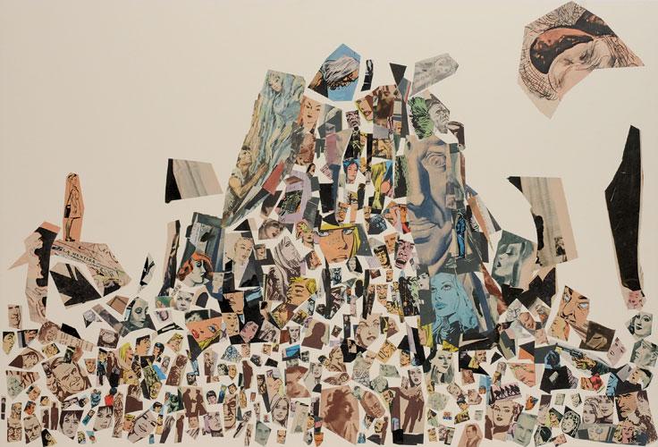 La mentira(conclusión), papel collage, 51 x 76 cm, 2008.