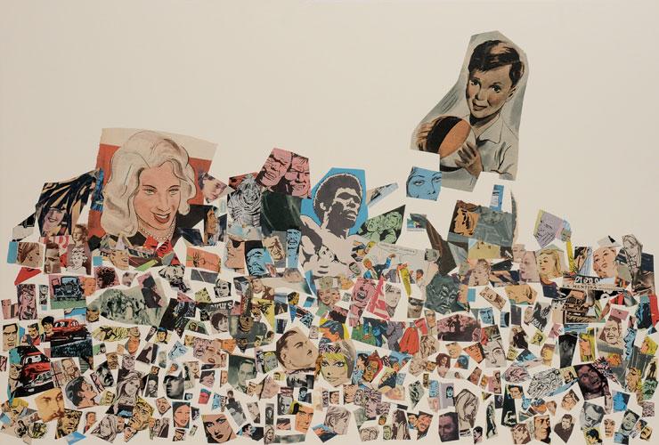 La mentira(continuación), papel collage sobre papel, 51 x 76 cm, 2008.