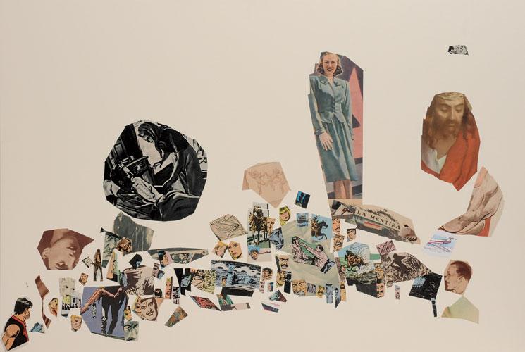 La mentira, papel collage sobre papel, 51 x 76 cm, 2008.