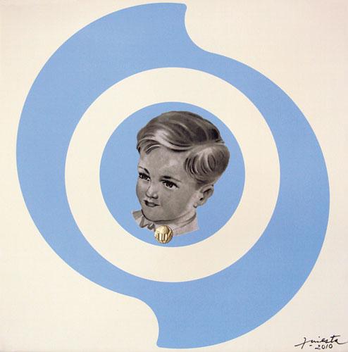 Niño argentino, impresión digital, acrílico y collage sobre tela, 40 x 40 cm, 2010.