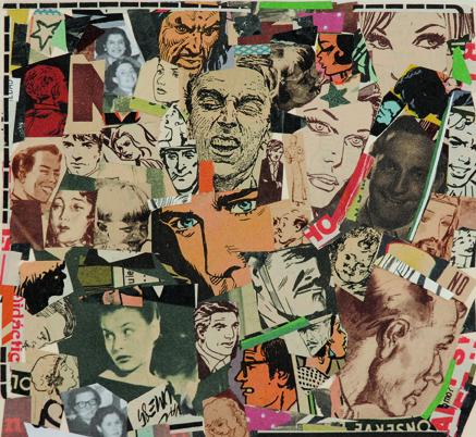 La vida siempre sonríe, serie, papel collage, 13,5 x 14,5 cm. 2008