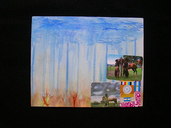 Paisaje de campo II, acrílico y papel collage sobre tela,18 x 24 cm, 2006.