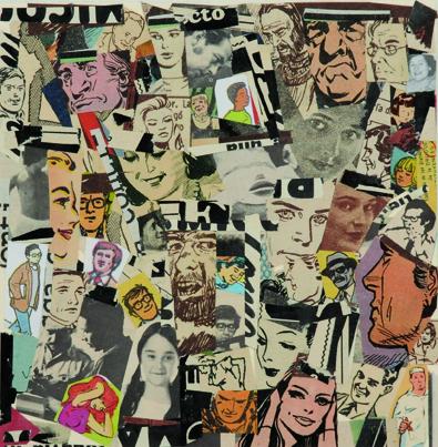 La vida siempre sonríe, serie, papel collage, 13,5 x 13 cm. 2008 (1)