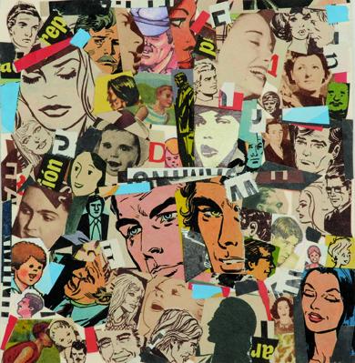 La vida siempre sonríe, serie, papel collage, 13,5 x 13 cm. 2008 (6)