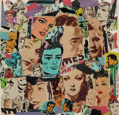 La vida siempre sonríe, serie, papel collage, 13,5 x 13,5 cm. 2008 (1)