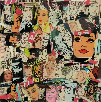La vida siempre sonríe, serie, papel collage, 13,5 x 13,5 cm. 2008 (12)