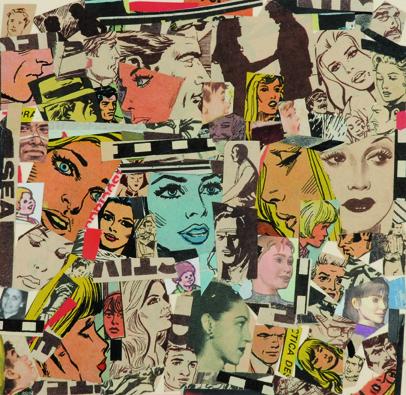 La vida siempre sonríe, serie, papel collage, 13,5 x 13,5 cm. 2008 (9)