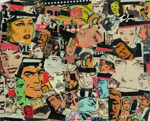 La vida siempre sonríe, serie, papel collage, 13,5 x 16,5 cm. 2008 (1)