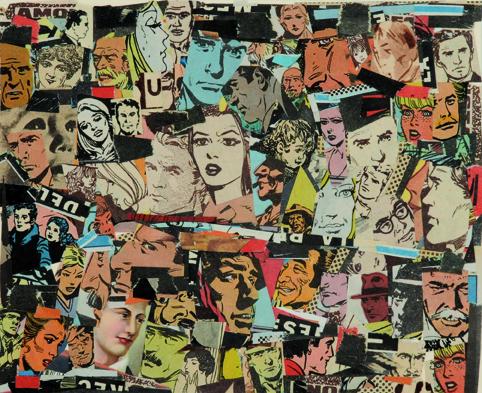 La vida siempre sonríe, serie, papel collage, 13,5 x 16,5 cm. 2008 (2)