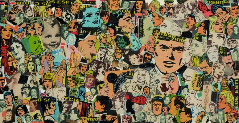 La vida siempre sonríe, serie, papel collage, 13,5 x 25,5 cm. 2008