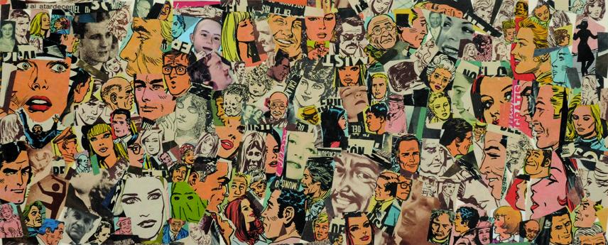 La vida siempre sonríe, serie, papel collage, 13,5 x 33 cm. 2008