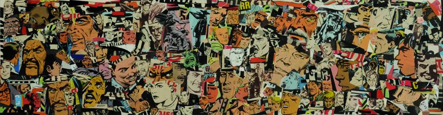 La vida siempre sonríe, serie, papel collage, 13,5 x 51 cm. 2008 (1)