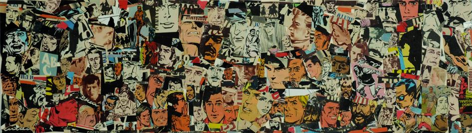 La vida siempre sonríe, serie, papel collage, 13,5 x 51 cm. 2008 (2)