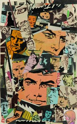 La vida siempre sonríe, serie, papel collage, 13,5 x 8 cm. 2008