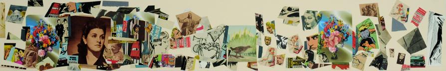 La vida siempre sonríe, serie, papel collage, 13,5 x 88,5 cm. 2008 (1)