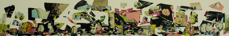 La vida siempre sonríe, serie, papel collage, 13,5 x 88,5 cm. 2008 (2)