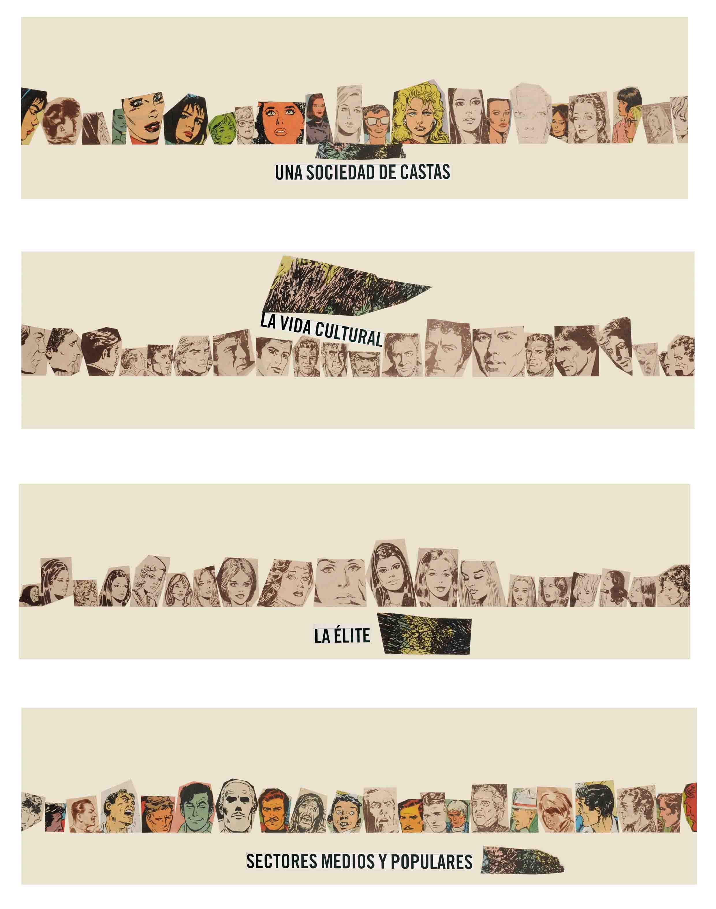 La vida siempre sonríe, serie, papel collage, 60 cm x 50 cm 2008